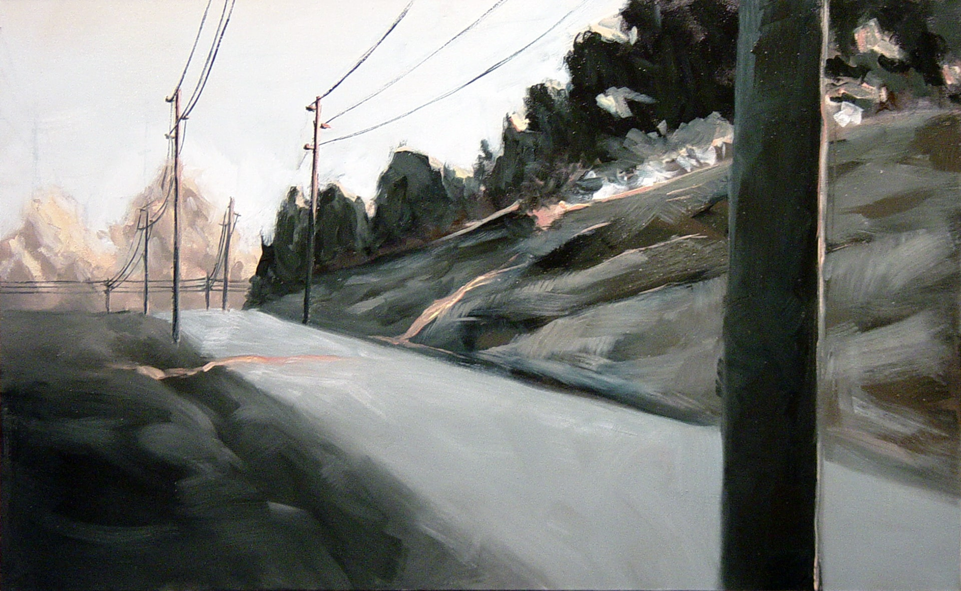 painting of a road with electrical poles and wires