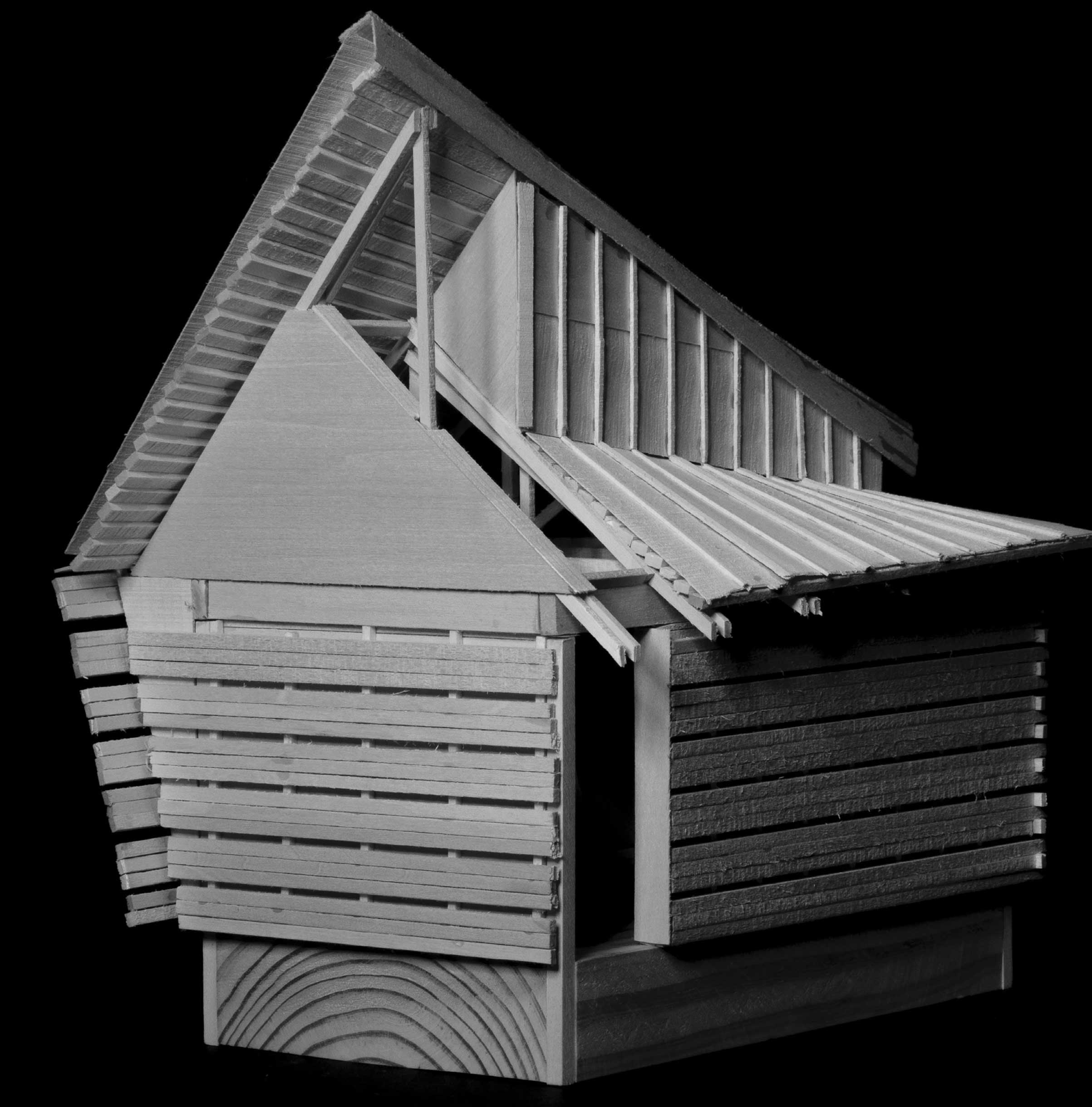 Davis Byars: Convertible Cabin, final model, basswood. Black and white image of a model of a cabin made of basswood