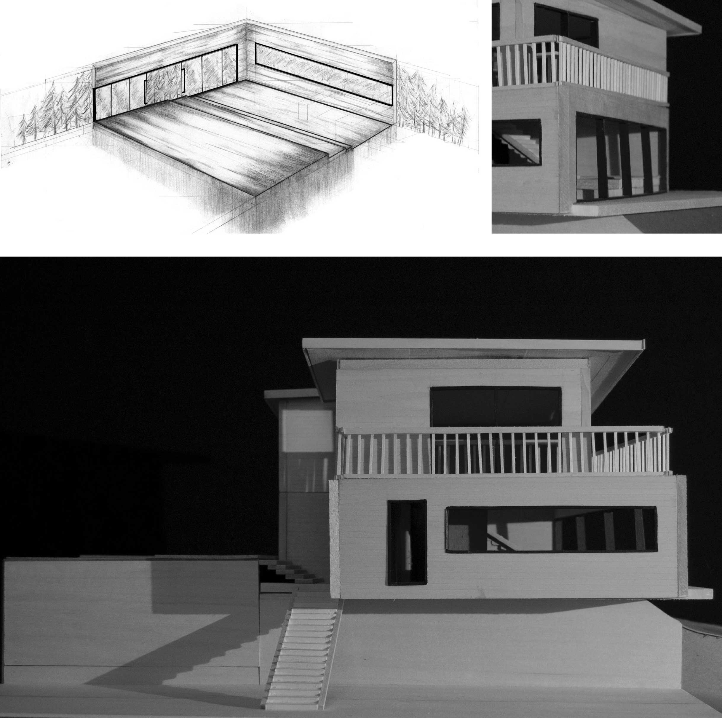 Heather Gillich: perspective, graphite on bristol board and final model of private residence design