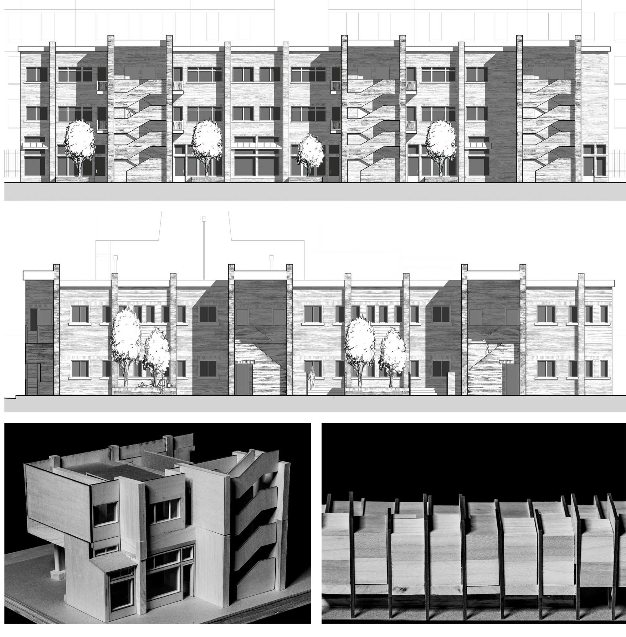 Matthew Lewis: Multi-Family Housing: Chicago IL – elevations, unit model, and massing model