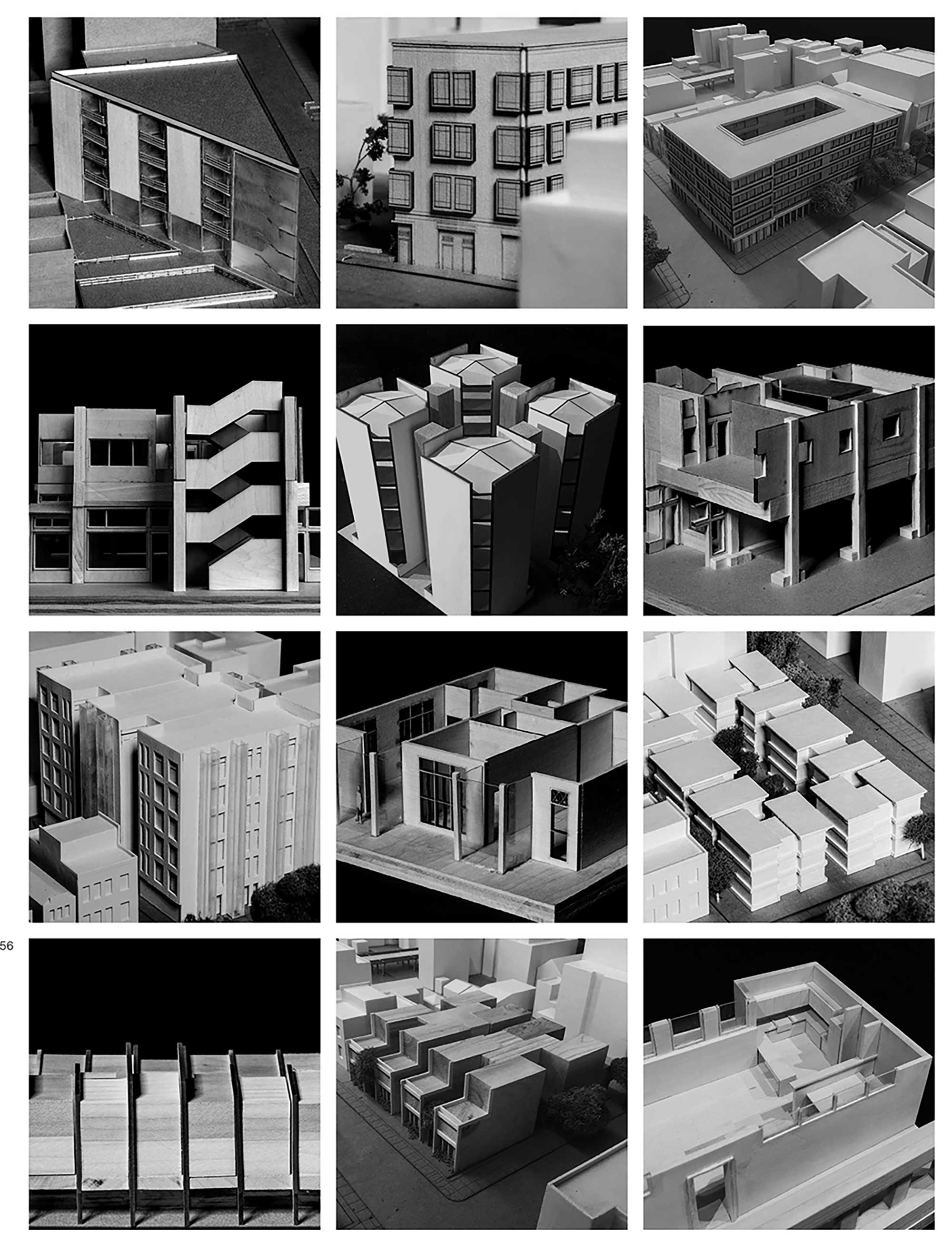 Second-Year, Spring semester: final and case study models by numerous students for the private residence design project