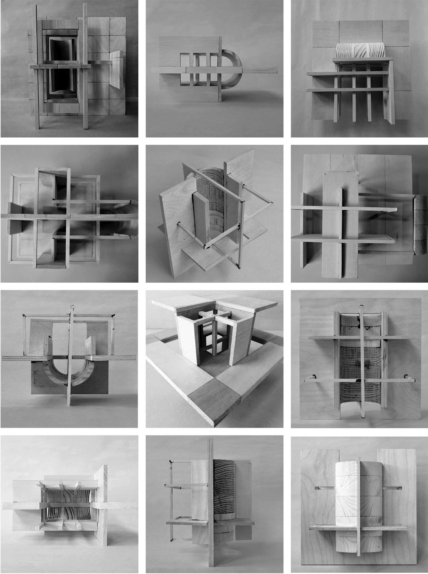 12 black and white images (3x4) of architecture models by students in studio 1A