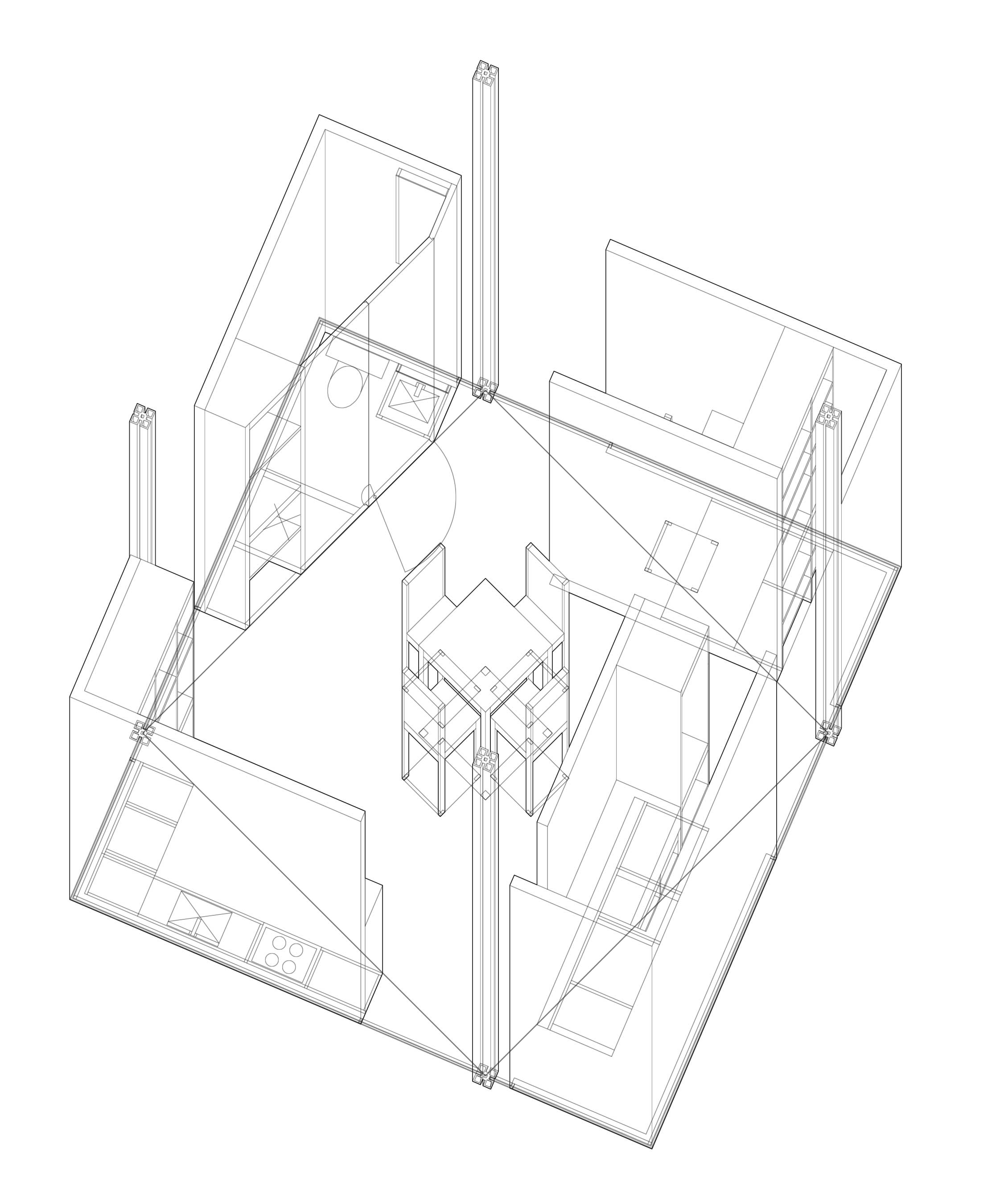 line architectural rendering by student in studio 3A