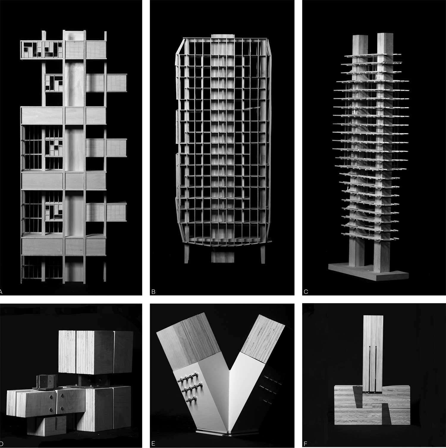 6 small images in 1 - b/w photos of wood architecture models by students in studio 4A