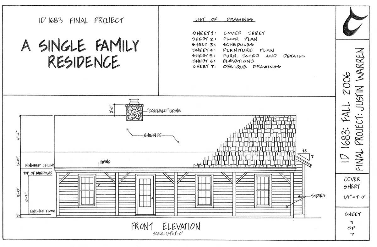 cover sheet: single family residence drawing by Justin Warren