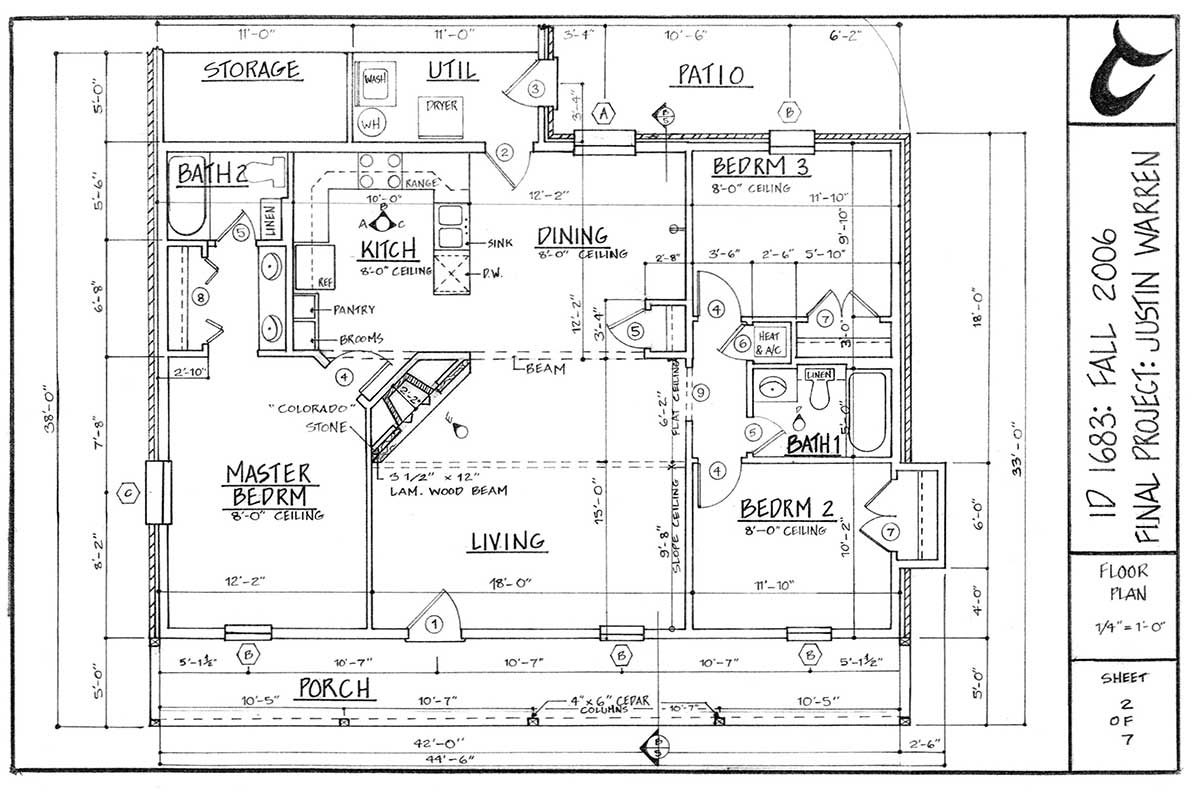 floor plan: single family residence drawing by Justin Warren