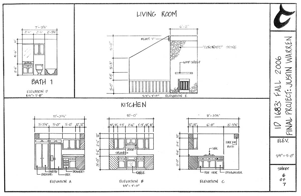 elevations: single family residence drawing by Justin Warren (bath top left, living room top right, kitchen at bottom - left to right, a, b and c