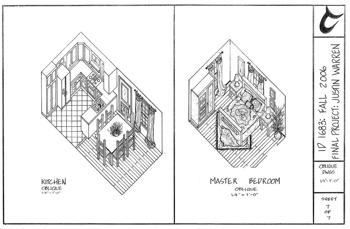 oblique drawings: single family residence drawing by Justin Warren (kitchen on left and master bedroom on right)