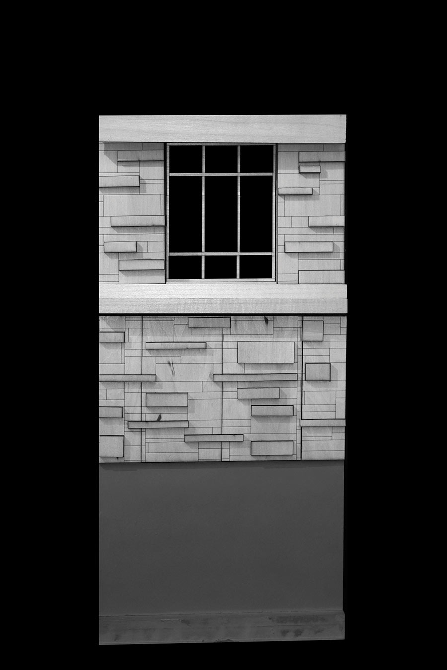 black and white image of house facade