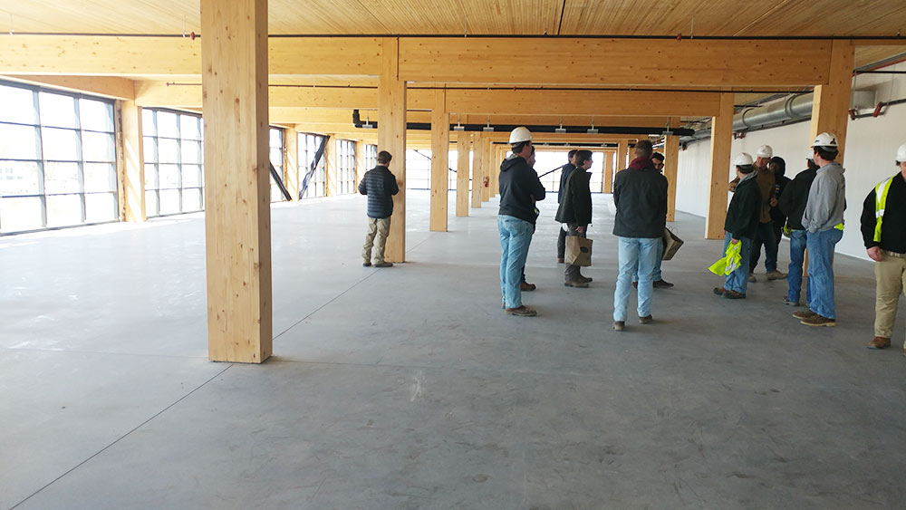 inside of T3 building hallway - shows wood columns