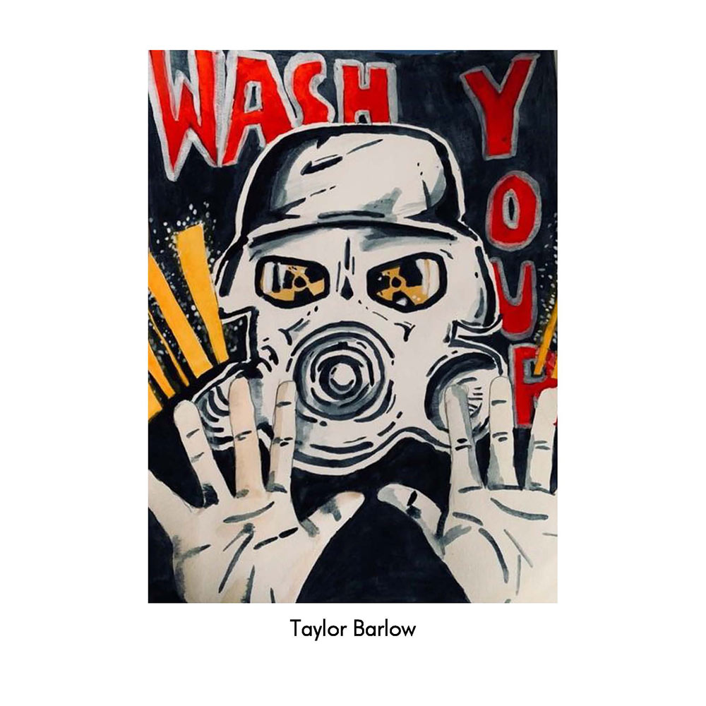"Poster of drawing of person wearing a gas mask. In red says ""wash your"" The man has his hands out."