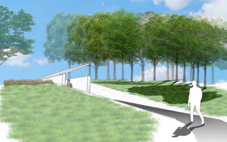Rendering by Bryant Baugus - person walking on paved path toward line of trees