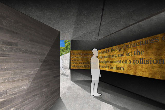 Rendering by Skylar Sloan - person viewing writing inside structure