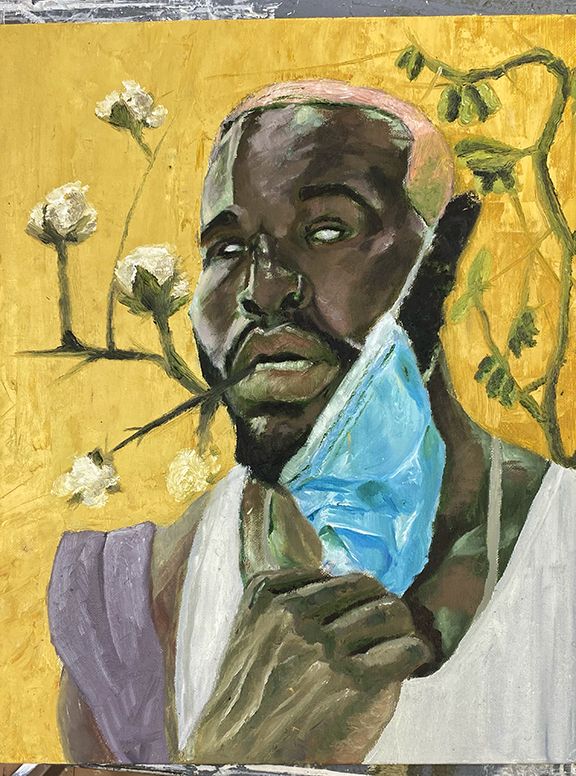 Painting of male figure pulling down a blue face mask. Golden yellow background with cotton plants.