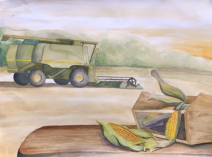 Watercolor painting of green farm vehicle turning soil behind a wooden table with yellow corn.