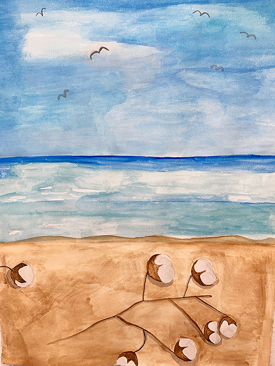 Watercolor paintings of sea side with cotton plant. Blue sky, blue water, and brown sand.