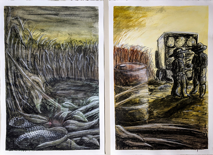 Two images of drawings set in corn fields.
