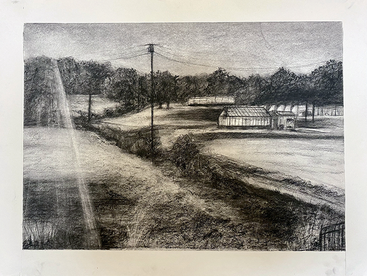 Black and white drawing of buildings set back in a landscape under telephone poles and wires.