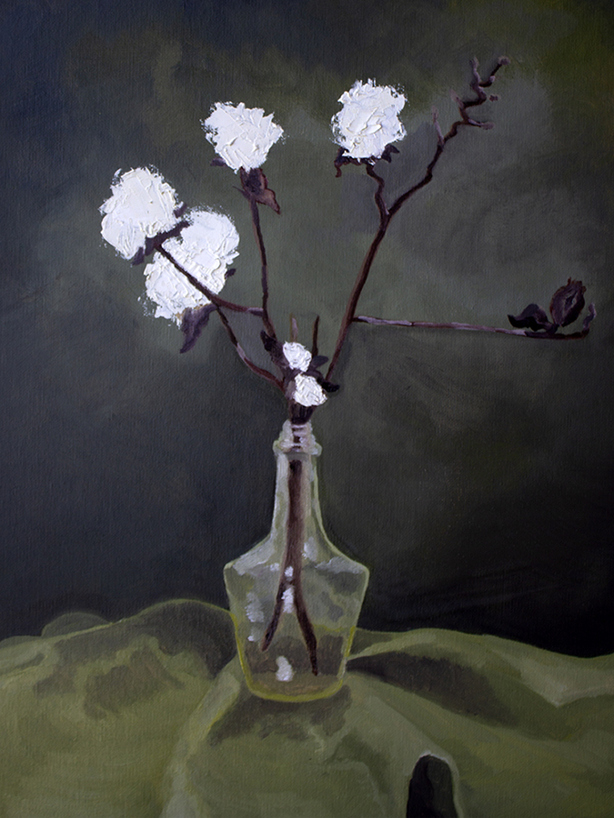Painting of a glass bottle with dried cotton plants set on a green cloth in front of a black wall.
