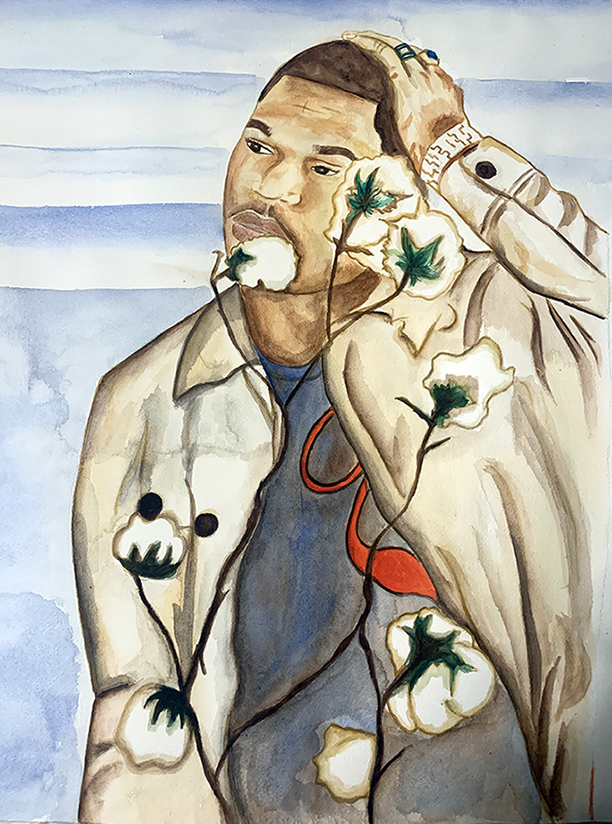 Watercolor painting of a male figure wearing a brown jacket and standing behind a cotton plant in front of a blue background.