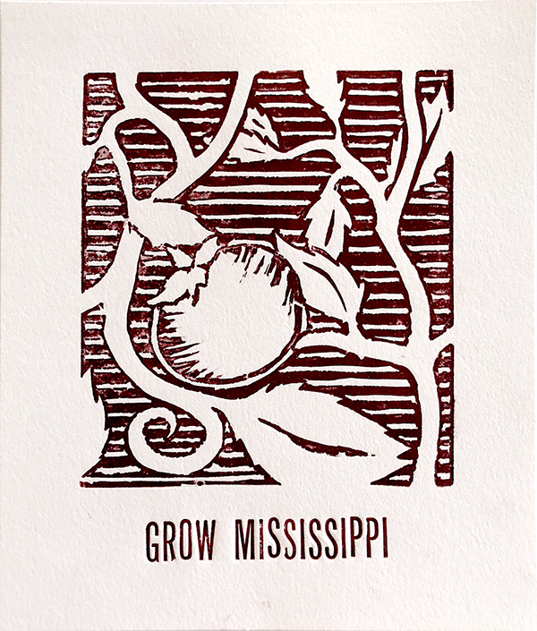 "Black and white printed image of a tomato plant. ""Grow Mississippi"" is printed underneath the image of the tomato."