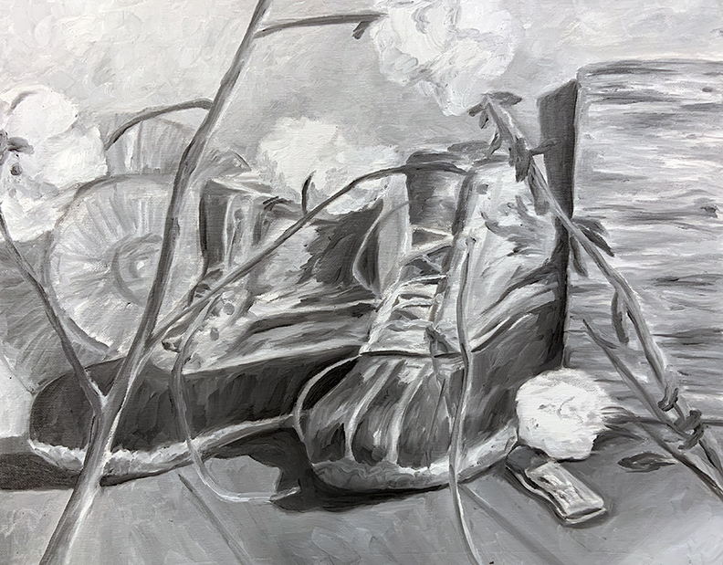 Black and white painting of still life with boots and cotton plant.