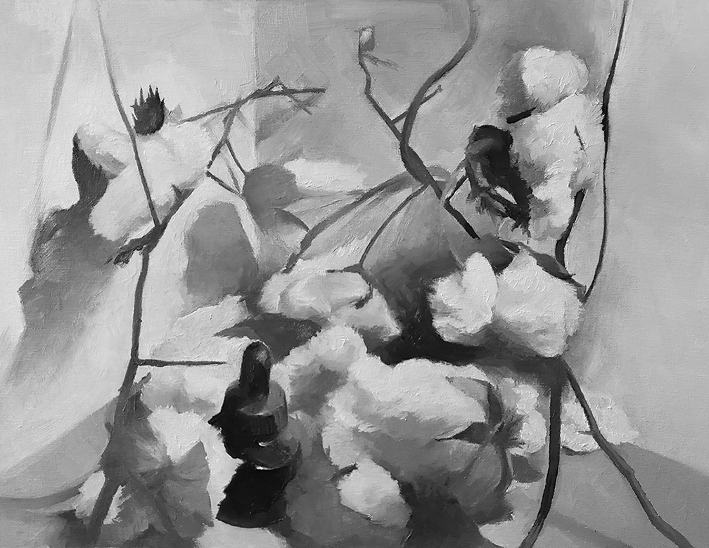 Black and white painting of a still life with cotton plants.