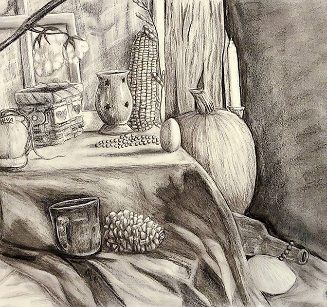 Black and white drawing of a still life with corn, pine cone, pumpkin, cotton plant, egg, shoe, mug, and basket.