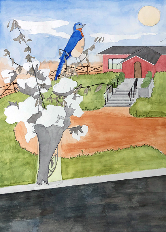 Watercolor painting of a glass vase full of cotton plant stems with a blue bird perched on the stem. In the background is a red building with a black fence and a dirt drive.