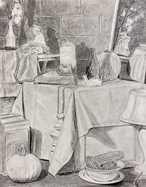 Black and white drawing of still life with telephone, pumpkins, corn on the cob in a bowl, and a lamp in front of a cinderblock wall.