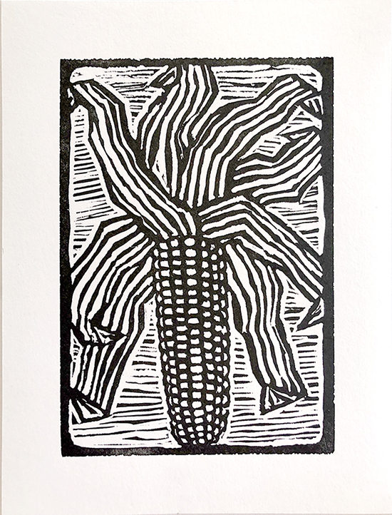 Black in print of corn on the cob.