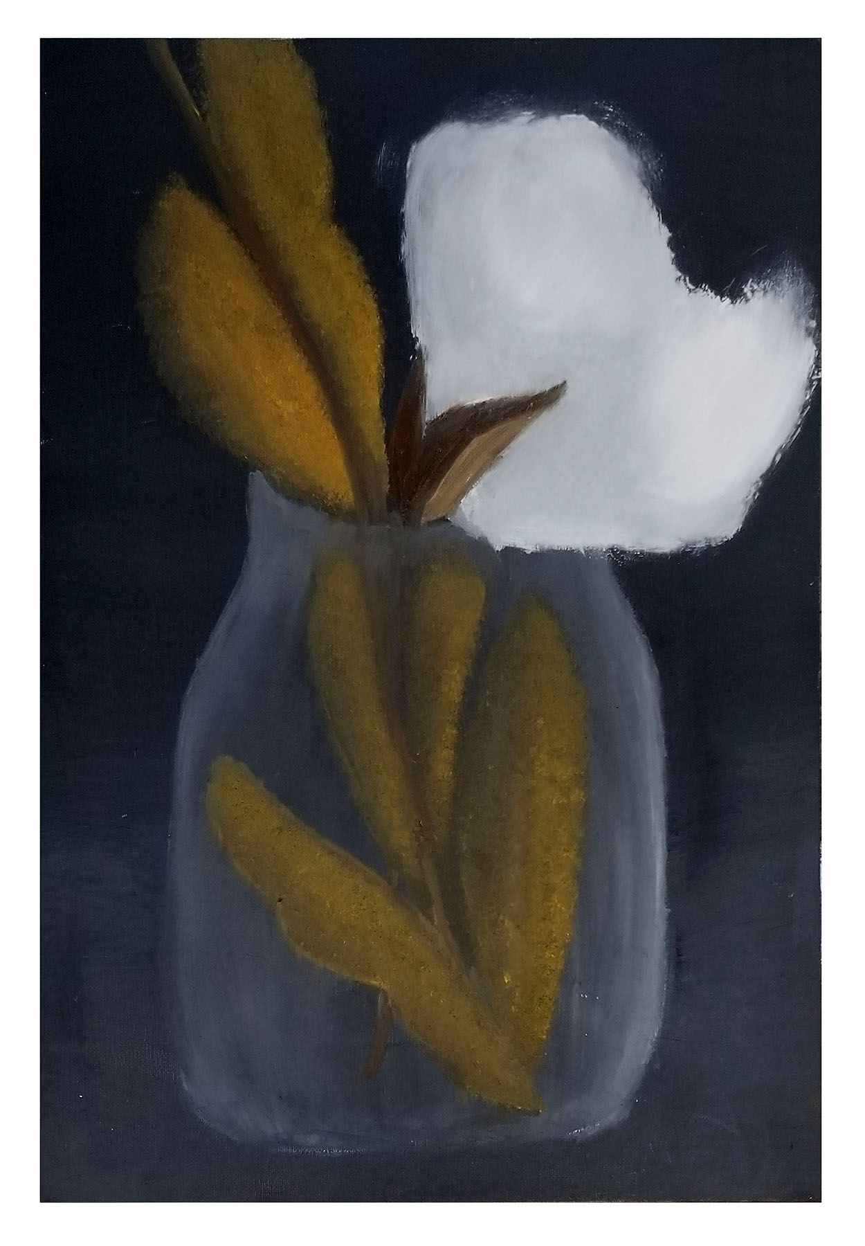 Painting of a glass jar with green plant and a large white cotton bloom.