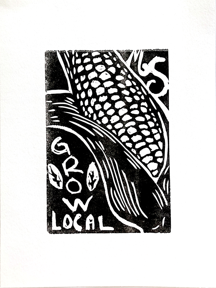 "Black and white ink printed image of corn on the cob with the words ""Grow Local"" in the bottom left corner."