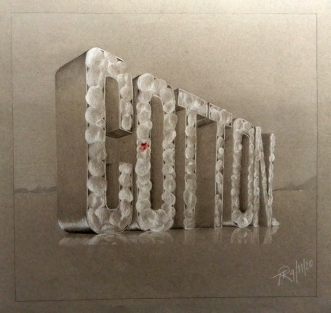 "Drawing of the word ""COTTON"" made out of cotton."