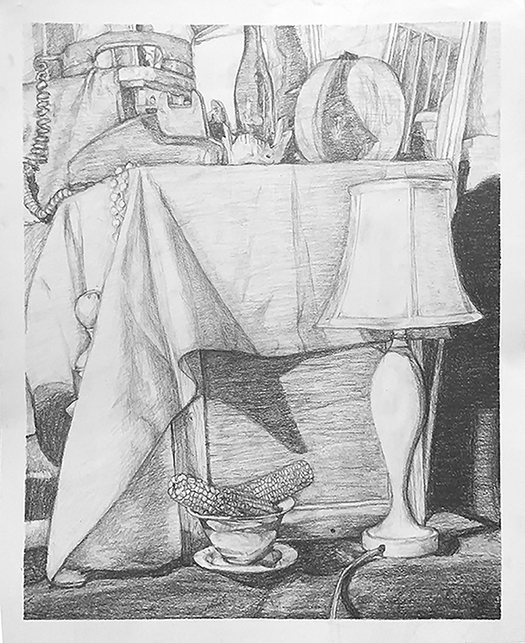 Black and white drawing of still life with lamp, telephone, and bowl of corn on the cob.