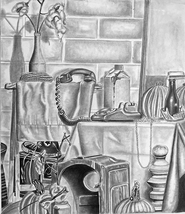 Black and white drawing of still life with telephone, vase of cotton, corn on the cob, pumpkin, milk carton, beads, and tennis shoe.