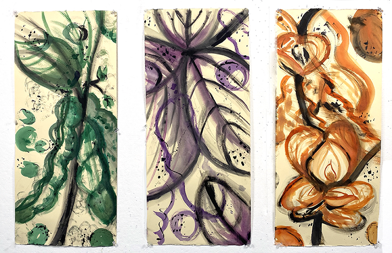 Three paintings of leaves in green, purple, and orange.
