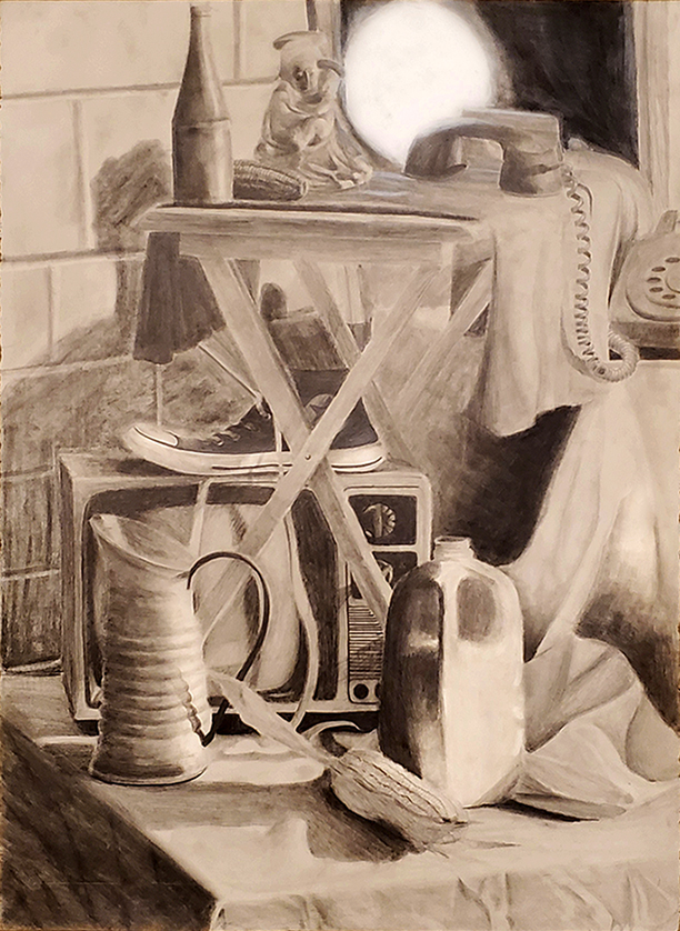 Black and white drawing of still life with tennis shoe, pitcher, old television, plastic milk carton, telephone, and corn cob.