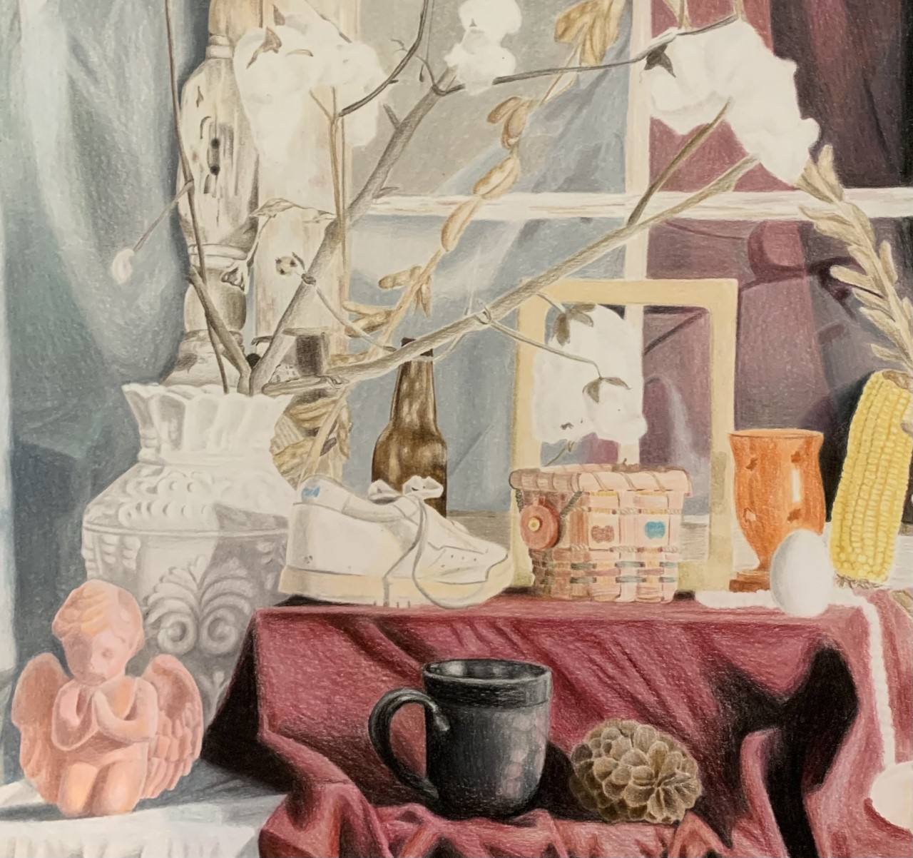 Color pencil drawing of still life.