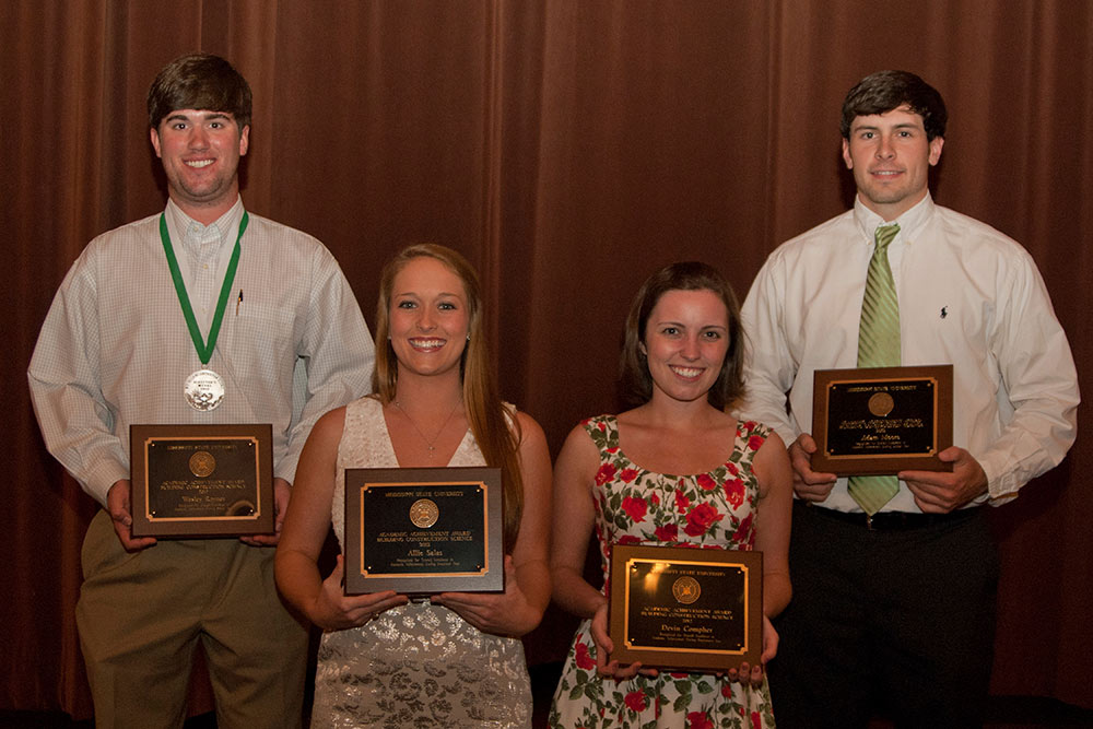 Students of the Year: left to right: Wesley Rayner, Allie Salas, Devin Compher, and Adam Moore