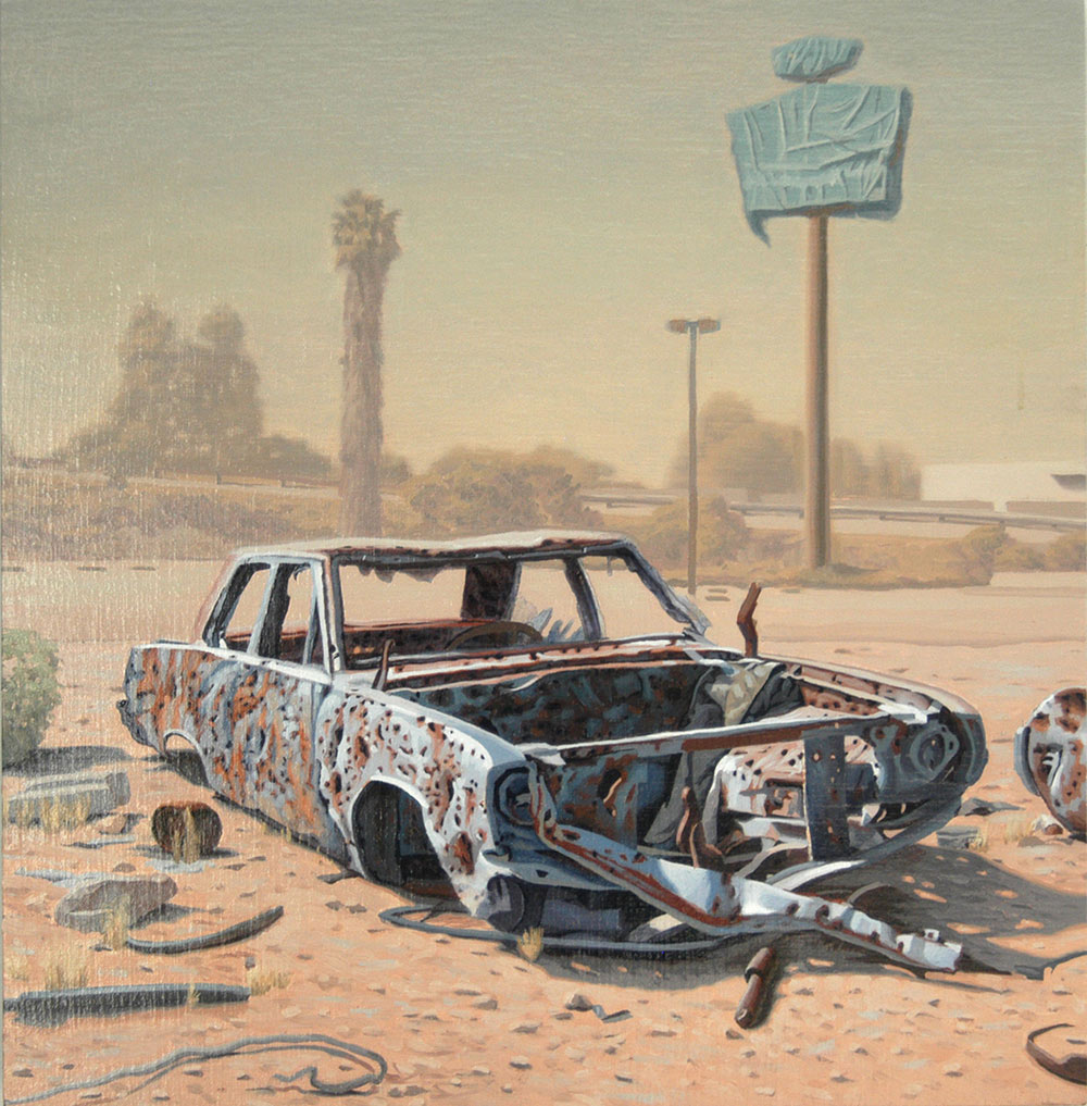painting of a rusted car with parts removed in dessert land