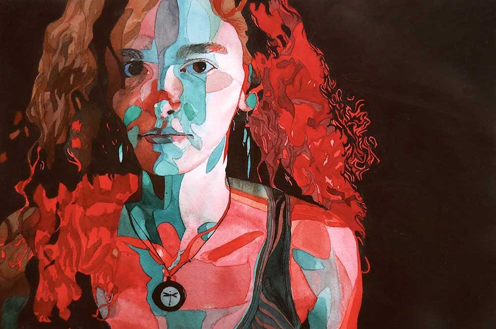 watercolor self-portrait of Mississippi State University art student Julia Thompson