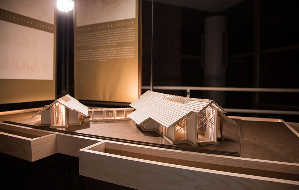 "wooden model from ""The Unbuilt Arboretum"" exhibit set up in the Charlotte and Richard McNeel Gallery in Giles Hall"