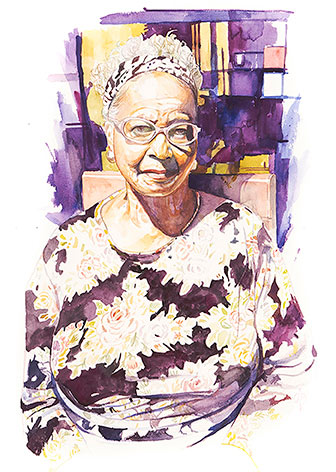 painting of a headshot of a black woman wearing glasses - purple background