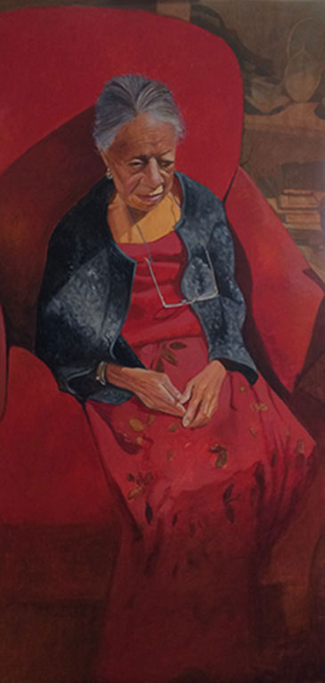 painting of black woman wearing red dress and jean jacket sitting in red chair