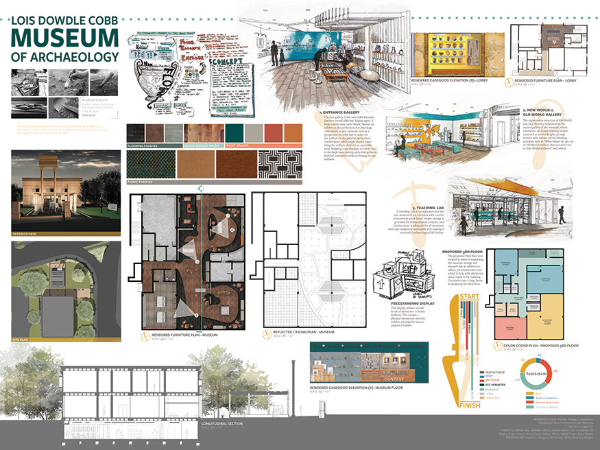 Image of the winning project - shows various rooms, layout, and color choices for the museum