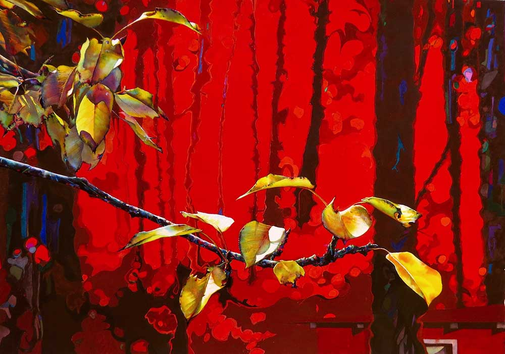 """Soul House (Red),"" a watercolor painting by Mississippi artist Brent Funderburk - shows yellow leaves on a branch in foreground, dark lines in background with red sky"