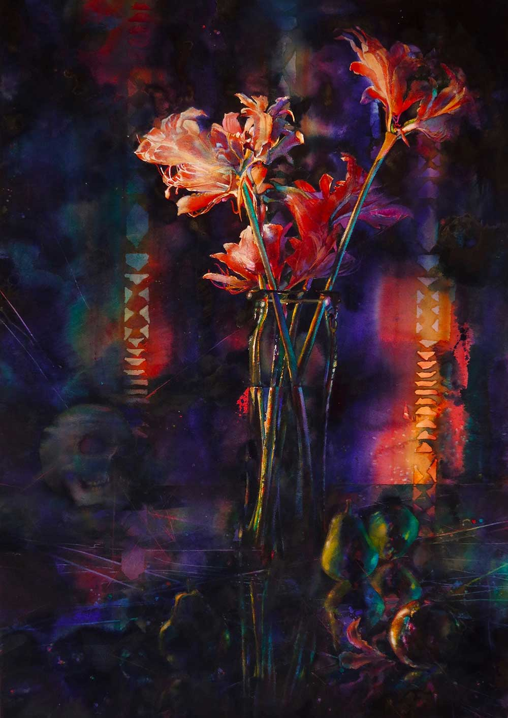 """Anterroom"" a watercolor painting by Mississippi artist Brent Funderburk - shows peach flowers in foreground, background is darker with blues and purples, a skull and pears are seen"