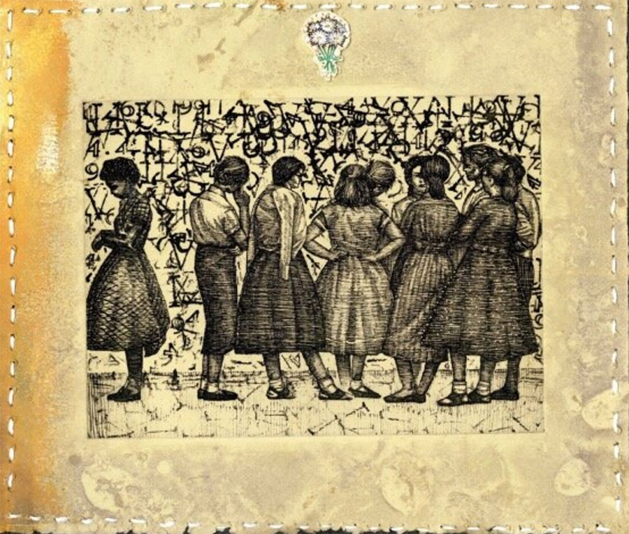 Mecca Givens's artwork - Intaglio print of women gathered