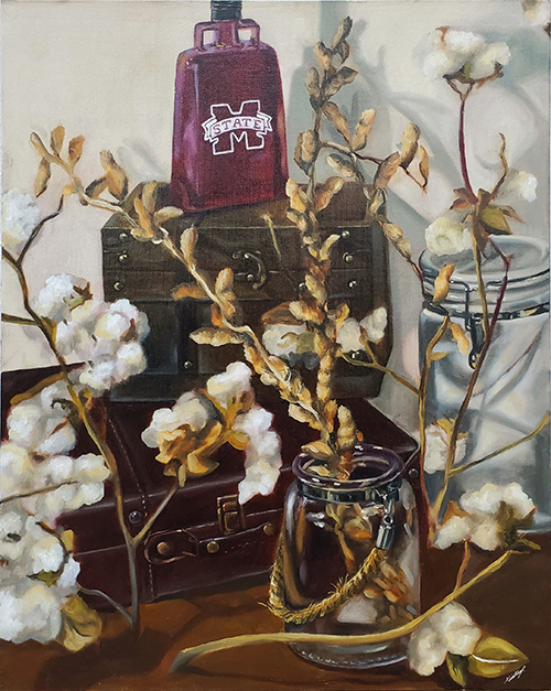still life painting of cotton and deer antlers with maroon MSU cowbell